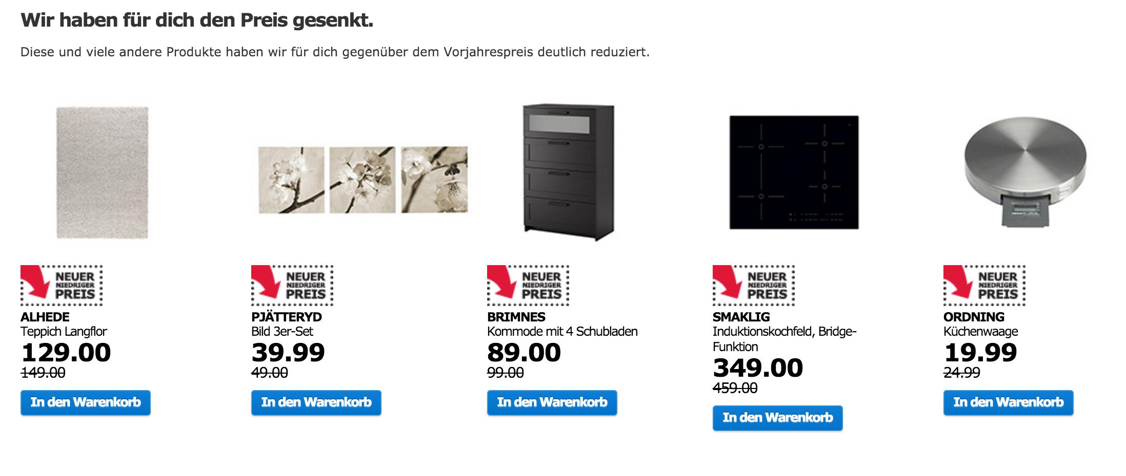 Ikea Restposten, Ausstellungsstücke und Angebote