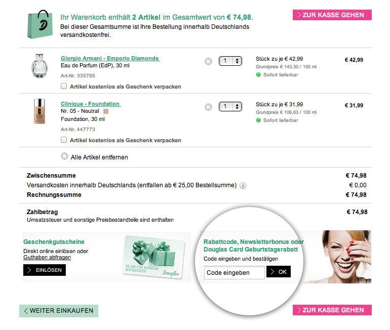 5 euro rabattcode douglas